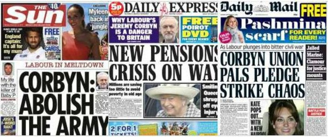 anti corbyn tabloids